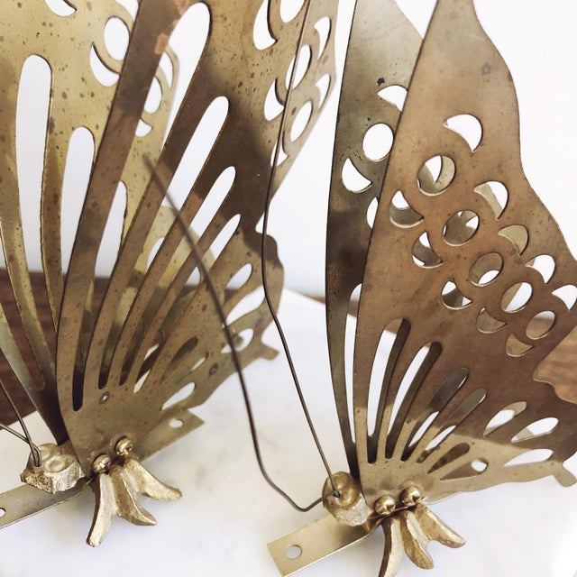 Vintage Brass Butterfly Wall Mounts - a Pair For Sale - Image 4 of 6