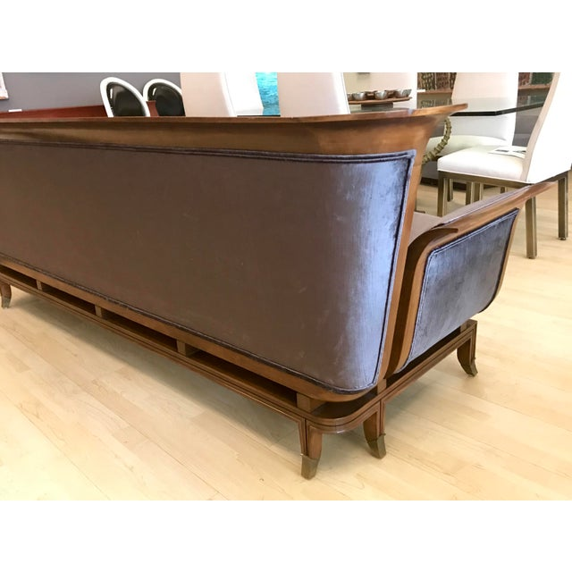 Brass 1950s Mid-Century Modern James Mont Style Walnut Sofa For Sale - Image 7 of 10