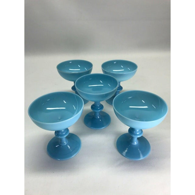 Portieux Vallerysthal Antique Portieux Vallerysthal Blue Opaline Champagne Glasses/Goblets - Set of 5 For Sale - Image 4 of 4