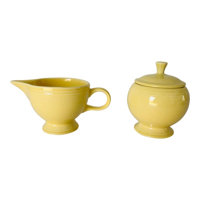 Fiesta Ware Yellow Sugar & Creamer Set Old Marks For Sale