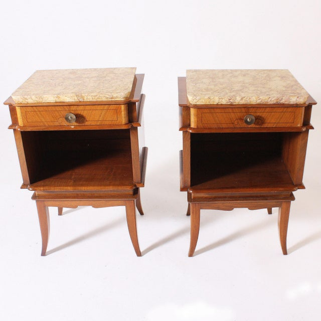 Art Deco Pair of Art Deco Side Tables With Marble Top, C. 1930 For Sale - Image 3 of 6