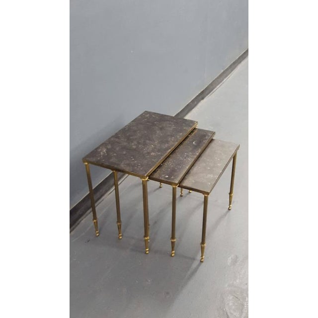 Louis XVI Set of Louis XVI Style Marble-Top Bronze Nesting Tables For Sale - Image 3 of 6