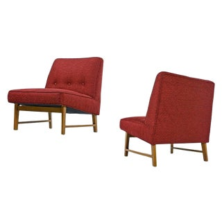 Edward Wormley for Dunbar Mahogany Slipper Chairs Set, Fully Restored For Sale