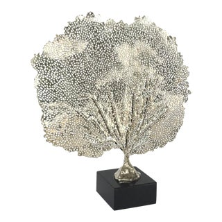 Regina Andrew Modern Polished Nickel Sea Fan Sculpture on Stand For Sale