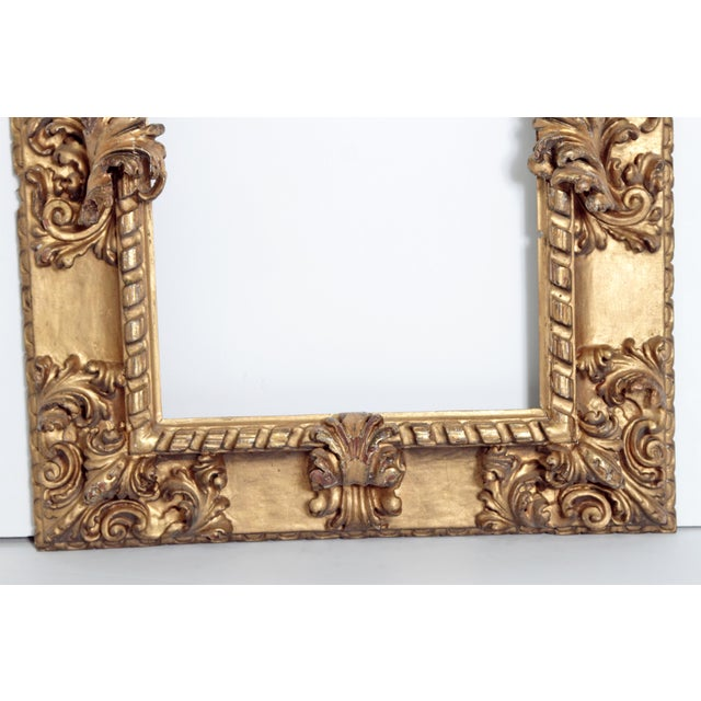 Giltwood Rare 17th Century Giltwood Italian Picture Frame For Sale - Image 7 of 11