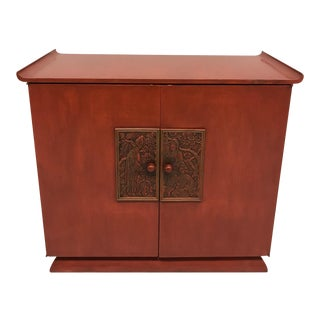 Red Mid-Century Chinoiserie Bar Cabinet