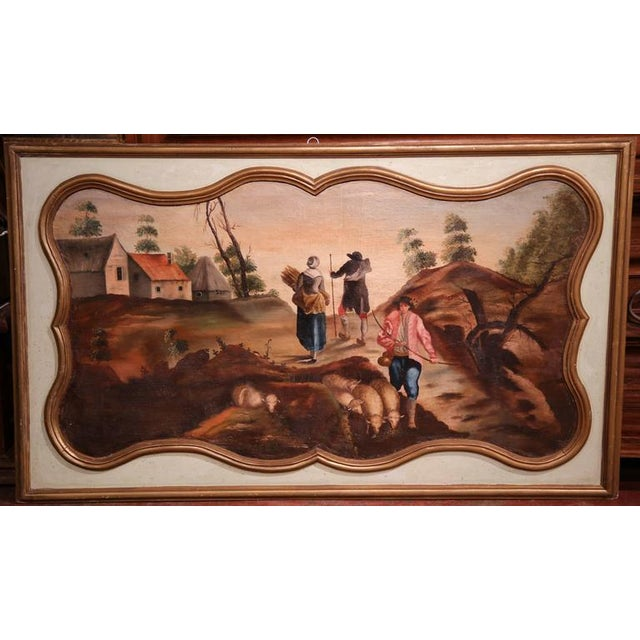 Late 19th Century 19th Century French Hand Painted Wall Panels With Gilt Accents - a Pair For Sale - Image 5 of 8