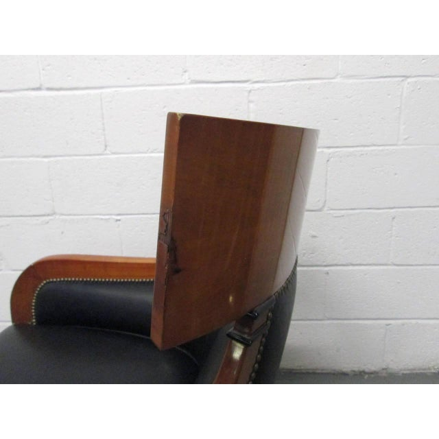 Leather Biedermeier Style Lounge Chair For Sale In New York - Image 6 of 9