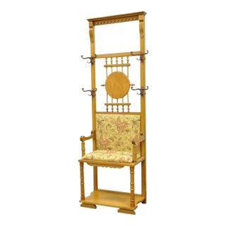 "71"" Antique Victorian Narrow Golden Oak Entry Bench Seat Coat Hat Rack Hall Tree"
