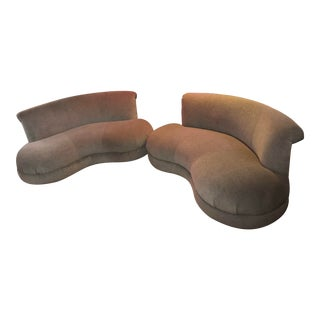 Mid Century Modern Adrian Pearsall Style Kidney Curved Shape Sofas Newly Upholstered - Pair For Sale