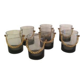 Gucci Style Smokey Whiskey Glasses - Set of 7 For Sale