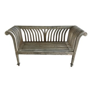 Modern Antique Style Rustic Indonesian Teak Bench For Sale