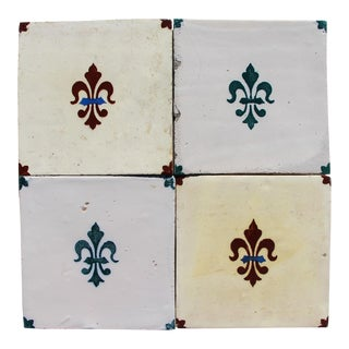 Antique Portuguese Fleur De Lis Tin-Glazed Pottery, Earthenware Tiles - Set of 4 For Sale