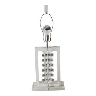 Mid 20th Century Prismatic Stacked Lucite Table Lamp For Sale