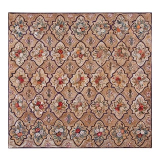 """Antique American Hooked Rug 8'1"""" X 9'0"""" For Sale"""
