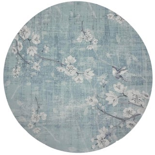 "Nicolette Mayer Blossom Fantasia Sky 16"" Round Pebble Placemats, Set of 4 For Sale"