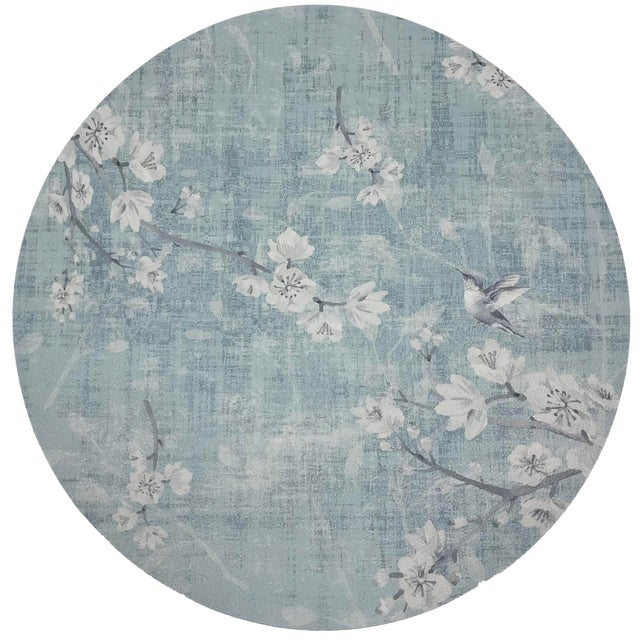 """Nicolette Mayer Blossom Fantasia Sky 16"""" Round Pebble Placemats, Set of 4 For Sale"""
