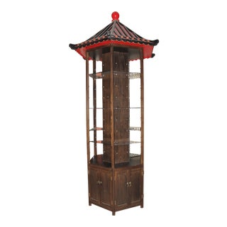 Tall Display Pagoda With Exterior/Interior Storage For Sale