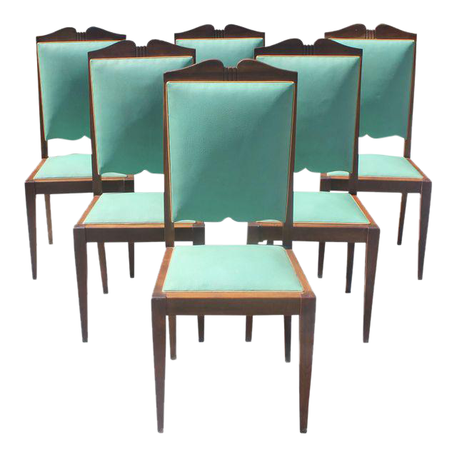 vintage dining room chairs. 1940s French Art Deco Solid Mahogany By Jules Leleu Dining Chairs - Set Of 6 Vintage Room G