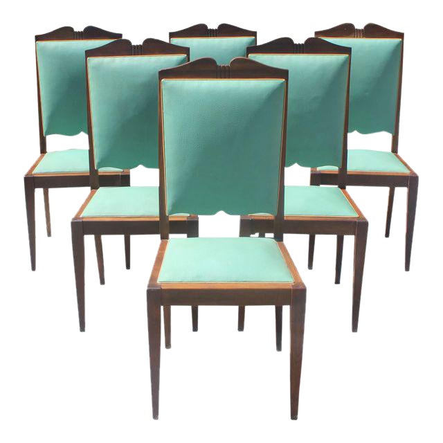 1940s French Art Deco Solid Mahogany by Jules Leleu Dining Chairs - Set of 6 - Image 1 of 12