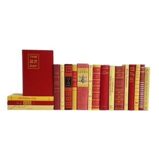 Mid Century Readings in Red & Yellow - Set of 20 For Sale