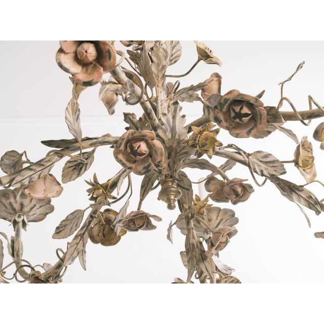 1960s 1960s Italian Tole Floral Chandelier For Sale - Image 5 of 9