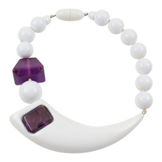 Angela Caputi Sculptural Asymmetric White and Purple Resin Bead Choker Necklace For Sale