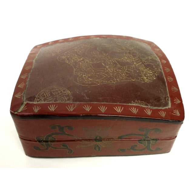 Large Chinese Red Lacquered Porcelain Lidded Box - Image 2 of 11