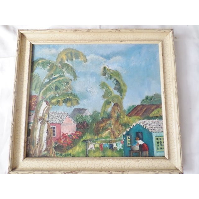 Oil Paint Mid-Century Island Scene Oil Painting For Sale - Image 7 of 12