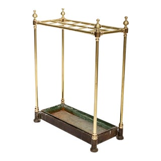 19th Century English Brass Umbrella Stand For Sale