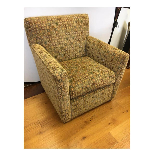 Mid-Century, upholstered in a cotton chenille geometric pattern, Maurice Villency arm chair. Circa 1970s.