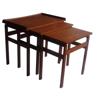 Mid-20th Century Scandinavian Teak Nesting Tables - Set of 3 For Sale