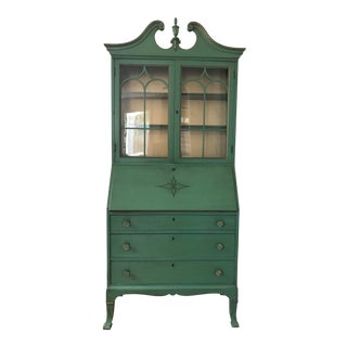 Vintage Green Secretary Cabinet With Original Paint For Sale