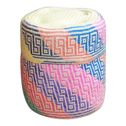 Oaxacan Hand-Woven Palm Bastes Lidded Basket For Sale