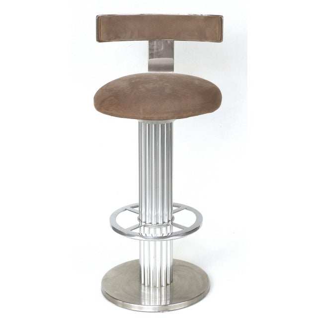 Designs for Leisure Brushed Stainless Steel Bar Stools 1980s- Set of 3 For Sale - Image 4 of 13