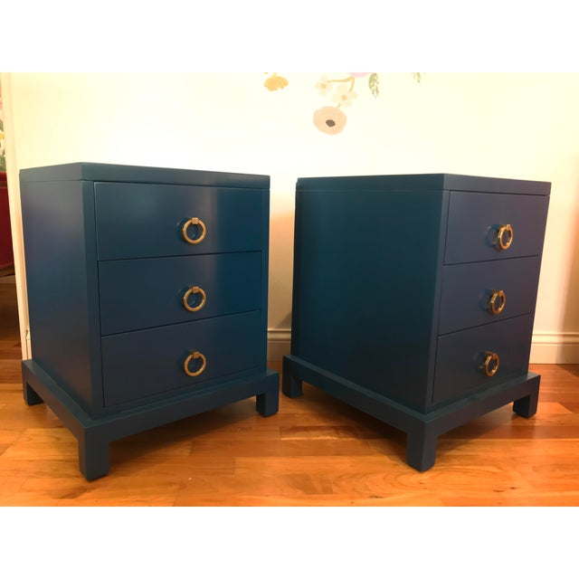 """T.H. Robsjohn-Gibbings designed these for Widdicomb """"Modern Original"""" very nice pair of nightstands or end/side tables..."""