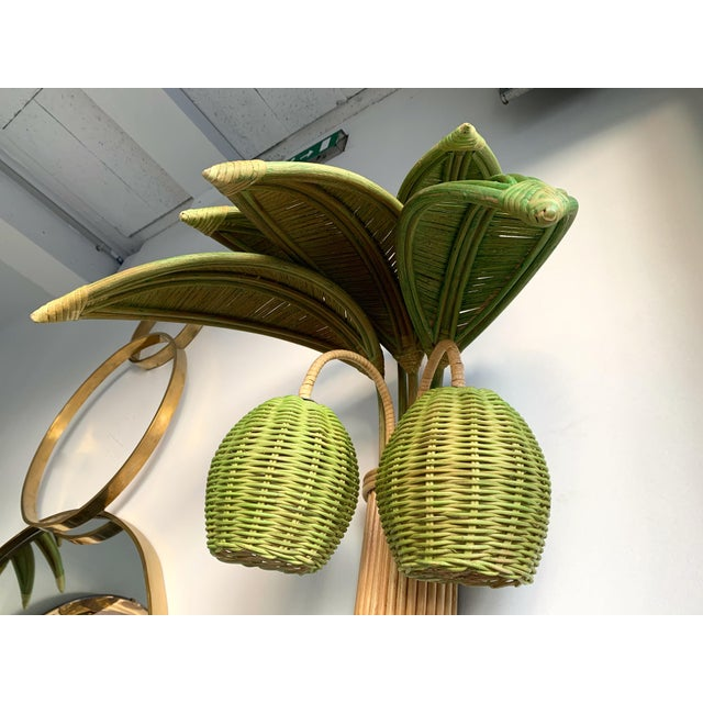 Pair of Rattan Palm Tree Sconces. France, 1980s For Sale - Image 9 of 11