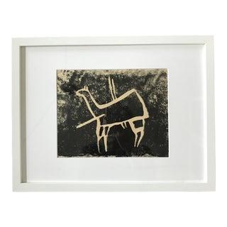 Vintage Animal Wood Block Print- Framed For Sale