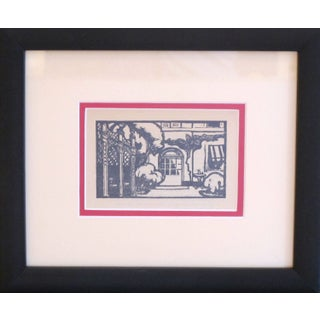 Framed Art Deco Woodblock Print