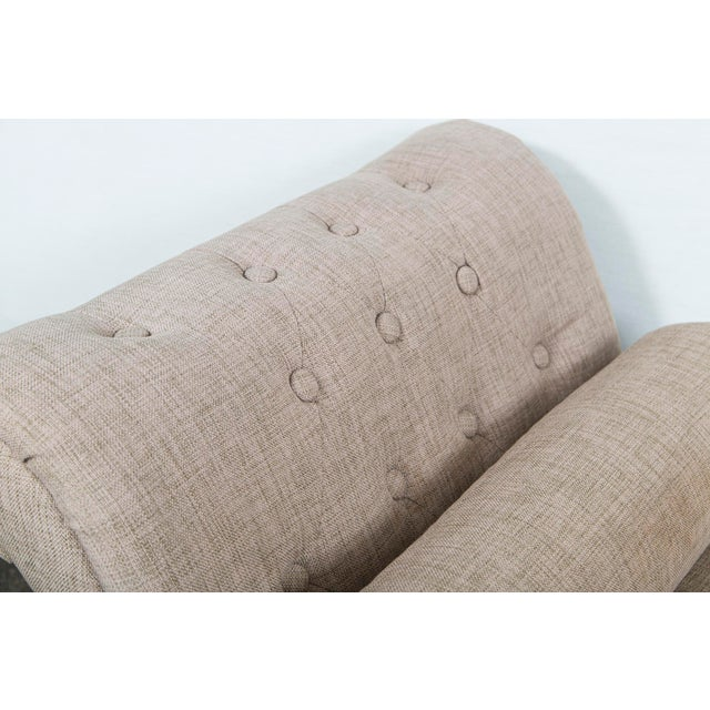 Beige/green linen custom upholstered bench/chaise with tufted rolled arms.