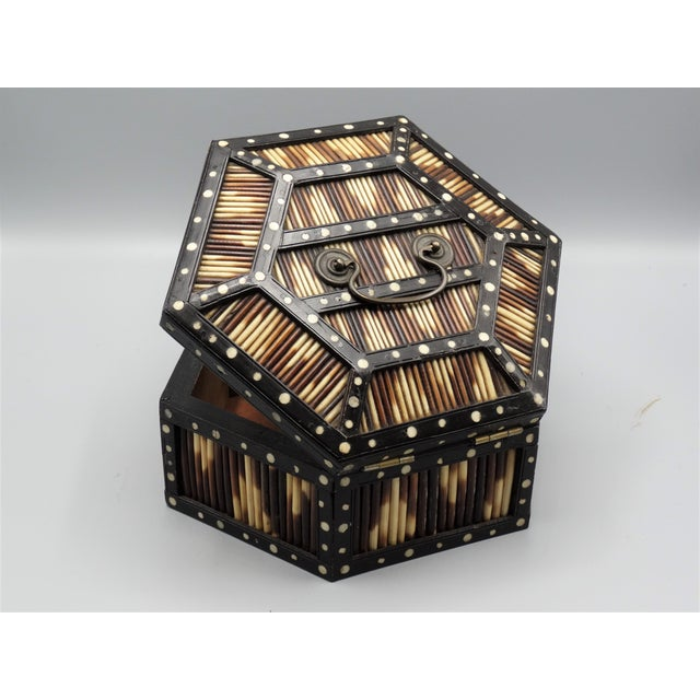 Wood Antique Porcupine Quill Hexagonal Box For Sale - Image 7 of 7