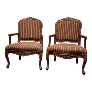 1960s Vintage Louis XVI Brown Wood and Velvet Striped Chairs - a Pair For Sale