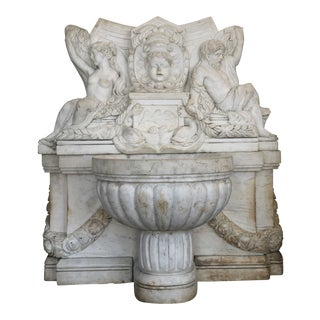 Hand Carved Stone Marble Wall Fountain For Sale