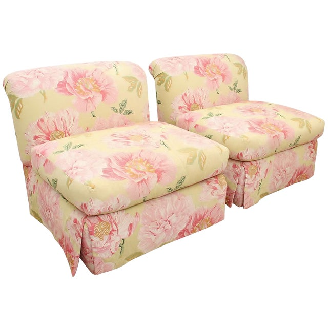 Embroidered Scalamandre Slipper Chairs- a Pair For Sale