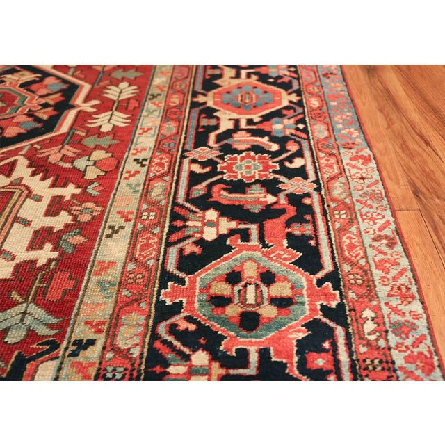 Textile Room Size Antique Persian Heriz Geometric Rug - 11′ × 14′5″ For Sale - Image 7 of 13
