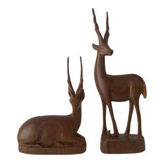 Mid 20th Century Teak Wood Antelope/Gazelle Sculptures - 2 Pieces For Sale