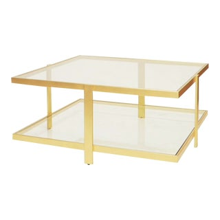 Worlds Away Modern Brass Finished and Glass Two Tier Cocktail Table For Sale