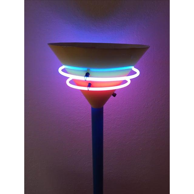 Vintage Memphis Style Halogen & Neon Floor Lamp For Sale - Image 4 of 10