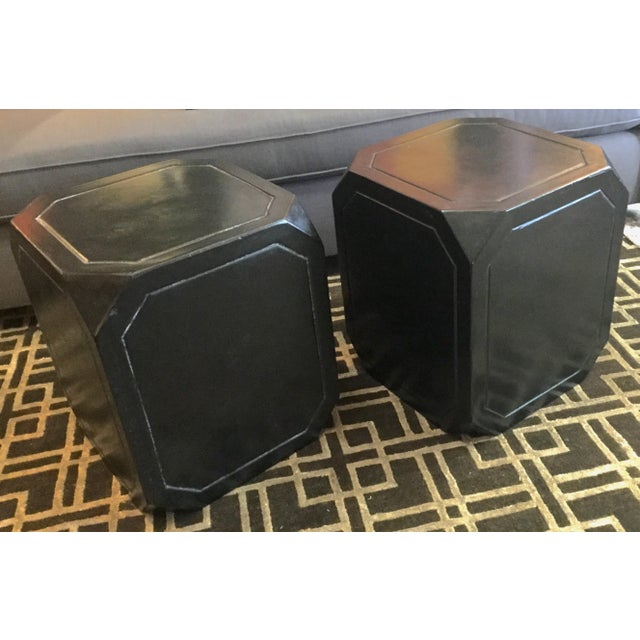 Black Concrete Tables/Stools - A Pair For Sale - Image 4 of 5
