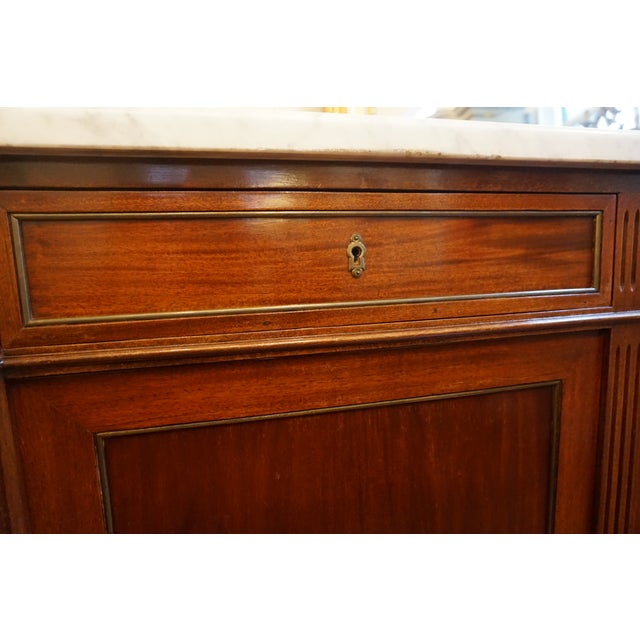 19th Century Louis XVI Walnut Enfilade With Marble Top For Sale In New Orleans - Image 6 of 12